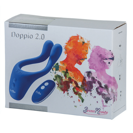 White box packaging for blue remote control couple vibrator Doppio 2.0 by BeauMents