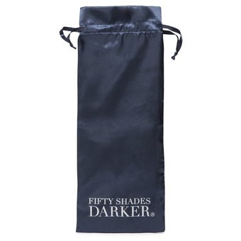 Black satin storage bag for Deliciously Deep Steel G-Spot Wand with Fifty Shade Darker branding