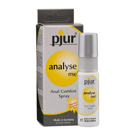 grey Spray bottle and grey and yellow box packaging of Analyse Me Anal Comfort Spray