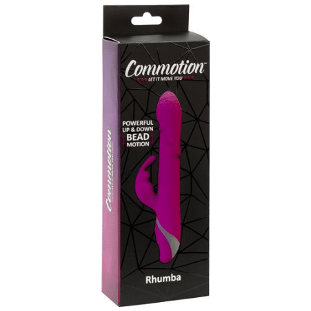 Purple Commotion Rhumba vibrating dildo in black box packaging