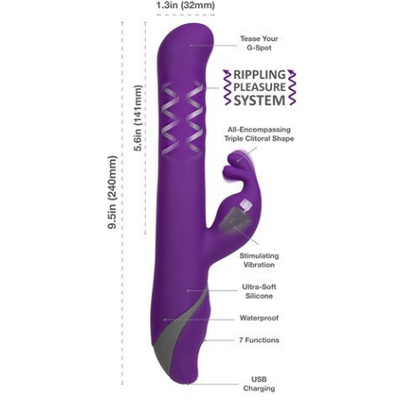 measurements description of dark purple Commotion Samba vibrator